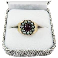 GORGEOUS Regency-Era 3/4 Ct. Ruby/Seed Pearl/15k Ring, c.1805!