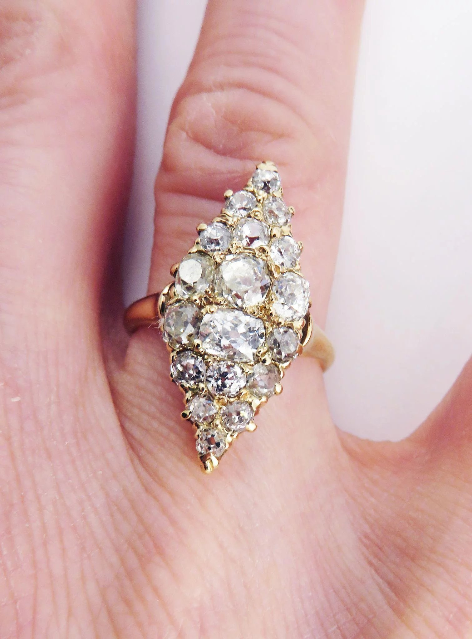 PHENOMENAL 2.85 Ct. TW Victorian Peruzzi-Cut and OMC Diamond Cluster ...