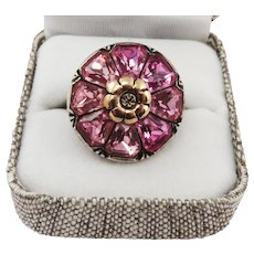 PRETTY IN PINK Pristine Late  Victorian Paste/9k/Sterling Ring, 7.67 Grams, c.1900!