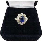 MAGNIFICENT 2.61 Ct. TW Untreated Color Change Sapphire/OMC Diamond/18k Ring, c.1890!