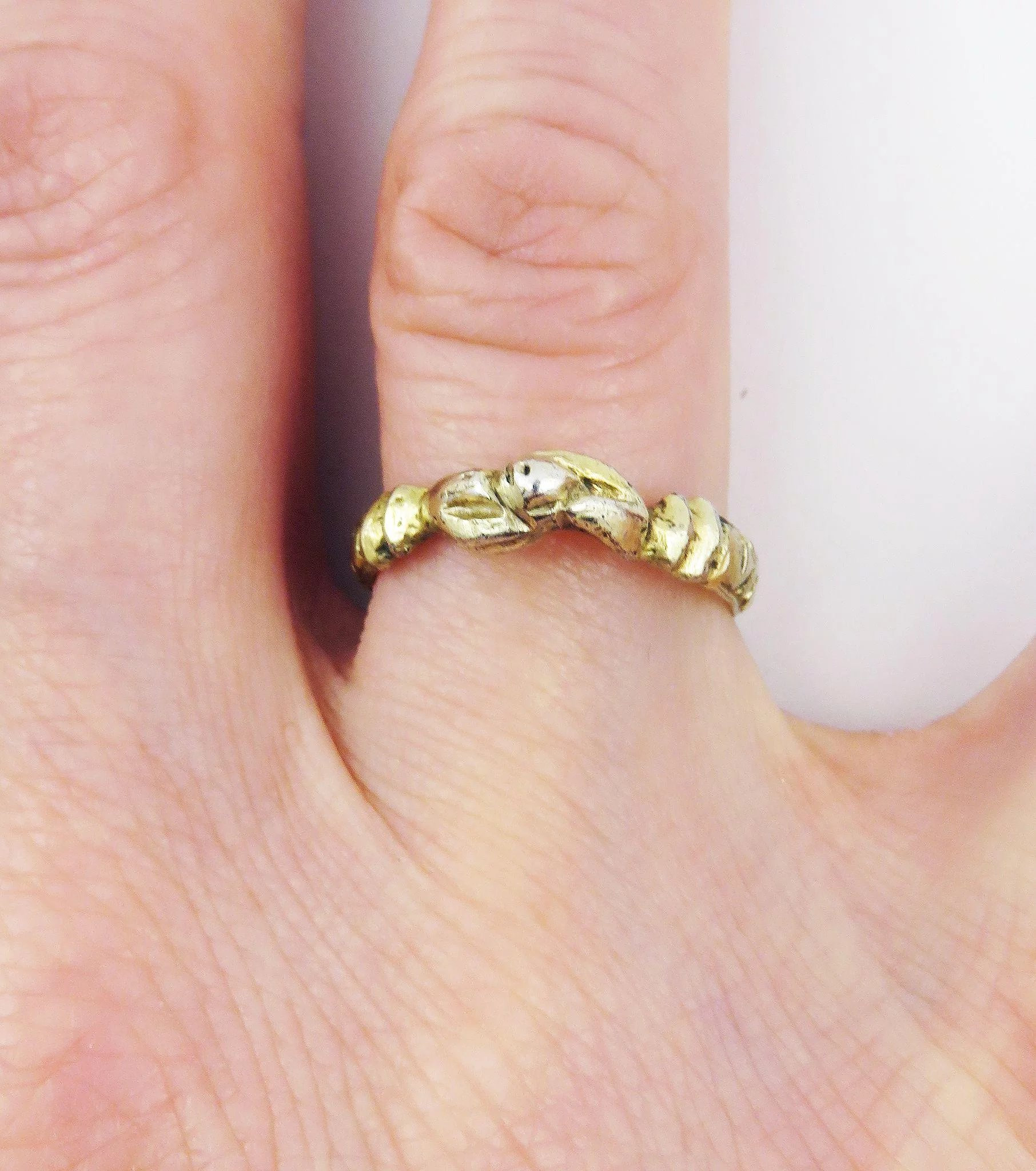 MEDIEVAL Silver Gilt Fede Posy Ring, Hands Holding Pomegranate, c ...
