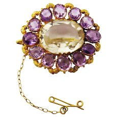 SO VIBRANT 33.36 Ct. TW Georgian Amethyst/Lemon Citrine/20k Pendant/Brooch, c.1815!