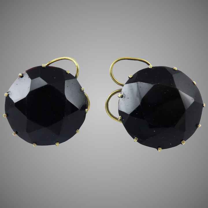 Amazing Queen Anne Faceted Jet Silver Gilt Snap Earrings C