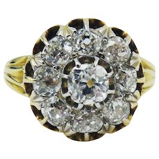 INVESTMENT-WORTHY Classic 1.6 Ct. TW Victorian OMC Diamond Cluster/18k Ring, c.1885!