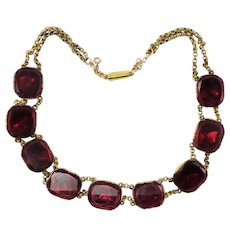 WOWEE!  Vibrant Red Queen Anne Paste/Gilt/Pinchbeck Necklace, c.1745/1820!