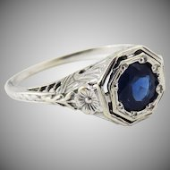 HEARTS & FLOWERS .77 Ct Natural Untreated Sapphire Solitaire/18k Ring w/GIA Valuation of $3,750.00, c.1925!