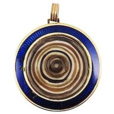 SUPERB XL Georgian Blue Guilloche Enamel/15k Locket w/Seven Family Hair Tokens, c.1795!