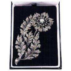 ULTIMATE 3.28 Ct. TW Victorian Old Mine-Cut Diamond Tremblant Floral Spray Brooch, c.1880!