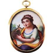 FABULOUS Neoclassical Enamel on Copper Miniature of a Lady Set in Original 18k Pendant, c.1800!
