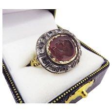 PHENOMENAL Stuart-Era Rock Crystal/Silver Gilt Ring Set w/Roman Glass Intaglio of Emperor Claudius, c.50/1670 AD!
