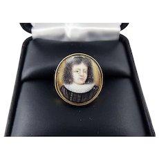 RAREST Stuart Enamel on Copper Portrait of King Frederick V of Bohemia set in Modern 18k Ring, c.1625!