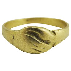 """MUSEUM-WORTHY Unisex Medieval 22k Gold """"Fede"""" Lover's Ring, c.1425!"""