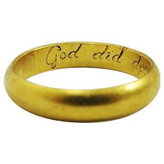 "OUTSTANDING 22k Stuart Posy Wedding Ring, ""God Did Decree Our Unity,"" Maker's Mark, 5.03 Grams, c.1690!"