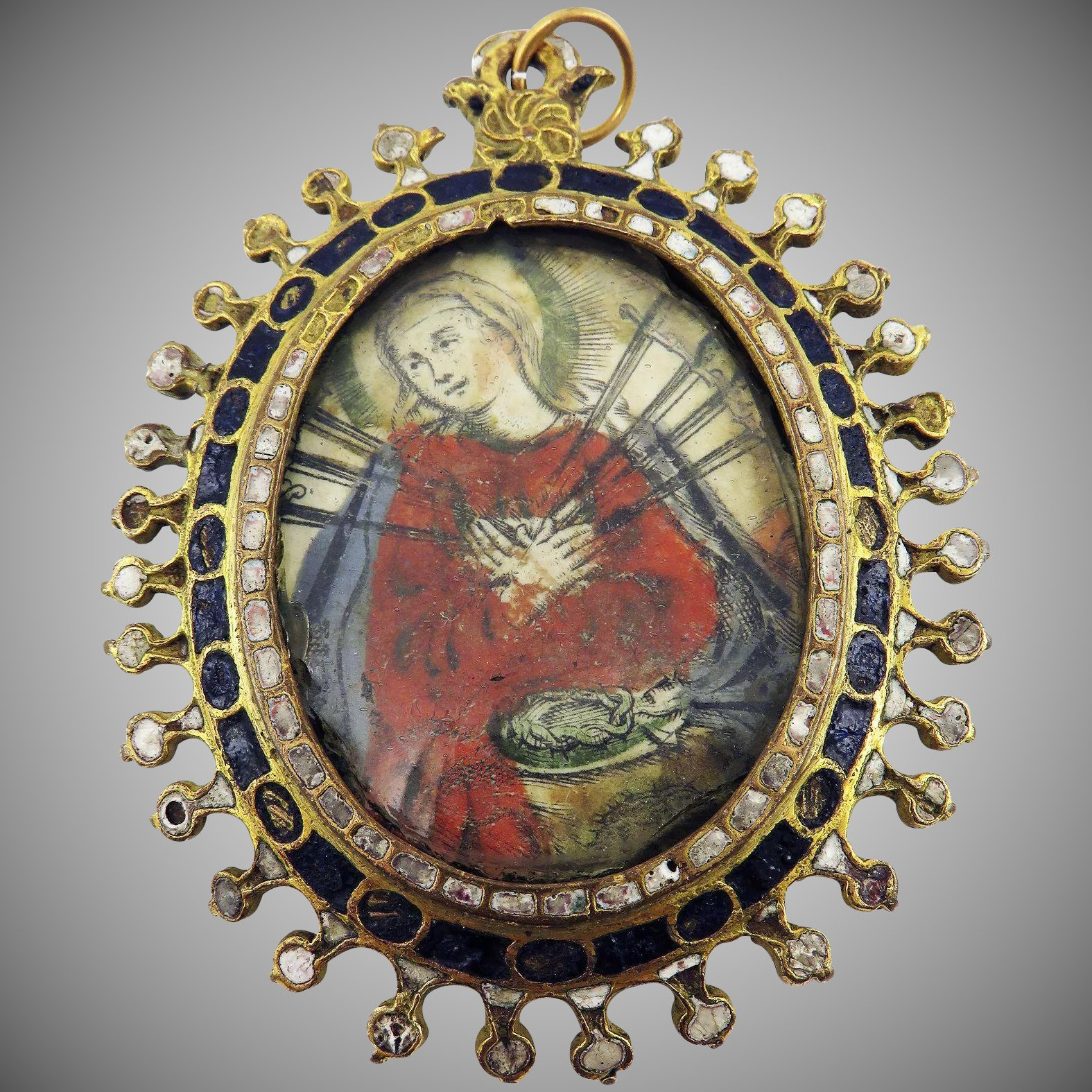Museum worthy spanish enameled reliquary pendant mary of click to expand mozeypictures Images