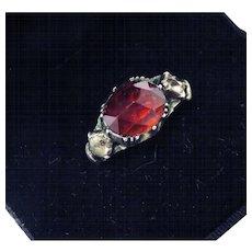 REGAL, ALL-ORIGINAL George II 3.9 Ct. TW Garnet/Rock Crystal/Silver Gilt Ring, c.1740!