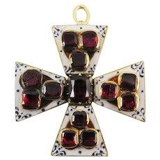 SO RARE Georgian 3.85 Ct. TW Garnet/Enamel/15k Maltese Cross Pendant, 8.87 Grams, c.1805!
