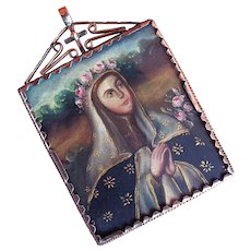 PHENOMENAL Peruvian Oil on Copper Double-Sided Devotional Miniature set in Sterling Pendant, St. Rosa of Lima and Angel, c.1850!