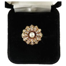 BLAZING BLOSSOM: 1.18 Ct. Victorian Rose-Cut Diamond/Pearl/14k Daisy Ring, c.1890!