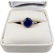 STUNNING Late Victorian 1.41 Ct. TW Untreated Sapphire/Diamond/9k Ring w/GIA Valuation of $4,025.00, c.1898!