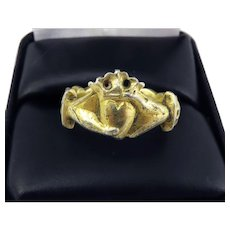 MUSEUM-WORTHY Unisex Late Medieval Silver Gilt Crowned Fede Betrothal Ring, 7.65 Grams, c.1475!
