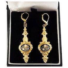 """SO ROMANTIC 2 1/2"""" Late Georgian Enamel/18k Drop Earrings, c.1835!"""