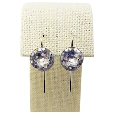 """DAZZLING Edwardian Eight """"Carat"""" TW Sterling Silver/Paste Solitaire Earrings, c.1905!"""