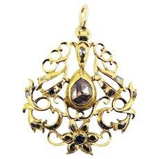 SO ROMANTIC Early Georgian 1.08 Ct. TW Rose- and Table-Cut Diamond/20k Pendant, c.1740!