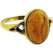 SWEETEST Ancient Roman Paste Intaglio of a Parrot Set in Edwardian 9k Ring, c.100 AD/1915!