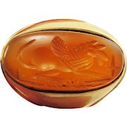 FANTASTIC Ancient Sassanian Carnelian Intaglio of a Griffin set in Edwardian Unisex 14k Ring, 12.96 Grams, c.400 AD/1910!