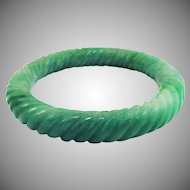 VIBRANT Natural Chinese Apple Green Jadeite Hand-Carved Bracelet, 53.97 Grams, c.1925!
