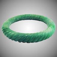 VIBRANT Natural Chinese Apple Green Jadeite Hand-Carved Bracelet, 53.97 Grams, c.1925!