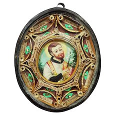 IMPORTANT Italian Reliquary with 17 Relics, Including Blessed Virgin, w/Miniature of St. Francis, Papal Seals & Threads, c.1825!