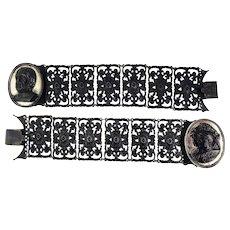"RARE PAIR of Berlin Ironwork Bracelets, Convertible to 14 1/2"" Choker, c.1815!"