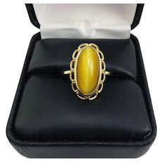 "TIMELESS 6.7 Ct. ""Milk & Honey"" Cat's Eye Chrysoberyl/10k Solitaire Ring w/GIA GG Valuation of $4,900.00, c.1950!"