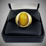 "CLASSIC Unisex 11.41 Ct. ""Milk and Honey"" Chrysoberyl Cat's Eye/14k Ring w/$9,750.00 GIA Valuation, c.1960!"