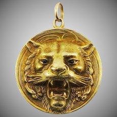 HERE, KITTY KITTY!  BEST Late Victorian 14k Repousse Lion Locket w/Garnet Eyes, 8.54 Grams, c.1895!