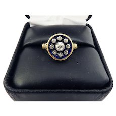 "BEAUTIFUL Early Victorian ""Bague de Firmament"" OMC & Rose-Cut Diamond/Enamel/18k Ring, c.1845!"