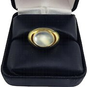 BLUE FIRE! Classic Unisex Late Victorian 5.23 Ct. Bullet-Cut Moonstone Cabochon/18k Ring, c.1900!
