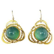 "GREEN WITH ENVY! Art Nouveau 17.82 Ct. TW Chrysoprase ""Bullet"" Cabochon/14k Earrings, c.1910!"