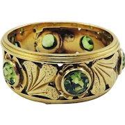 EXQUISITE Hand Wrought Art Nouveau 2 Ct. TW OMC Demantoid Garnet/14k Ring, c.1905!