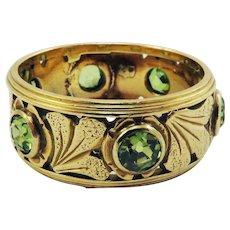 EXQUISITE Hand Wrought Art Nouveau 2 Ct. TW OMC Demantoid Garnet/14k Ring w/$5,600.00 GIA Valuation, c.1905!