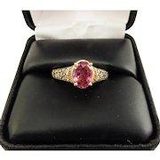 TRUE LOTUS 1.65 Ct. Untreated Padparadcha Sapphire Set in LeVian Diamond 14k Setting w/GIA Valuation of $6,750.00!