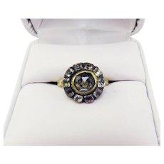 COURTLY Stuart Crystal/Paste/Enamel/22k Ring, c.1685!