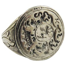 SO RARE Continental Ducal Silver Gilt Armorial Seal/Signet Ring, c.1625!