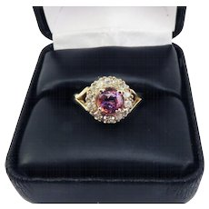 DROP DEAD GORGEOUS 1.64 Ct. TW Natural Parti-Colored Purple/Orange Sapphire in Victorian Diamond/9k Setting w/$3,525.00 GIA Valuation, c.1895!