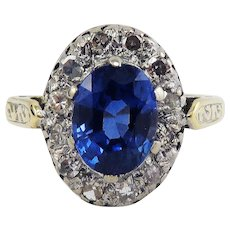 BLUE VELVET! 2.04 Ct TW Montana Sapphire Set in Victorian Diamond/18k Halo Ring w/$4,800.00 GIA Valuation, c.1890!