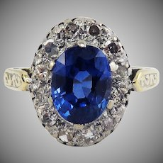 BLUE VELVET! 2.04 Ct TW Montana Sapphire Set in Victorian Diamond/18k Halo Ring w/$4,800.00 GIA Valuation, c.1890!