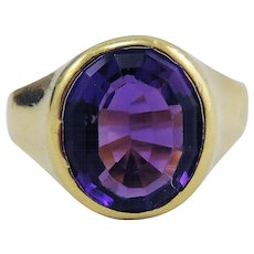 SUBLIME Unisex Victorian 4.53 Ct Siberian Amethyst/18k Ring, 7.02 Grams, c.1890!