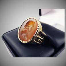 FANTASTIC Georgian Neoclassical Carnelian Intaglio Set in Early Victorian 18k Ring, 8.29 Grams, c.1790/1845!