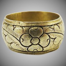 MUSEUM-QUALITY Unisex Stuart Silver Gilt Ring Enrgraved w/Tudor Roses & Oak Leaves, 10.84 Grams, c.1660!